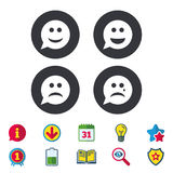Speech bubble smile face icons. Happy, sad, cry. Speech bubble smile face icons. Happy, sad, cry signs. Happy smiley chat symbol. Sadness depression and crying Royalty Free Stock Photography