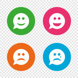 Speech bubble smile face icons. Happy, sad, cry. Speech bubble smile face icons. Happy, sad, cry signs. Happy smiley chat symbol. Sadness depression and crying Royalty Free Stock Images