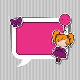 Speech bubble with sticker kawaii doodles Stock Photo