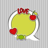 Speech bubble with sticker kawaii doodles Stock Photography
