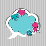 Speech bubble with sticker kawaii doodles Royalty Free Stock Image