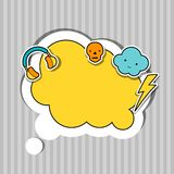 Speech bubble with sticker kawaii doodles Stock Image