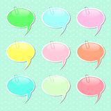 Speech Bubble Sticker Shapes in Pastel Colors Stock Images