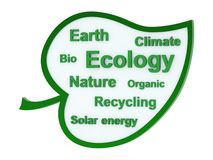 Speech bubble or tag cloud with ecological words Stock Images