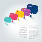 Speech bubble template. Color stripes background. Stock Images