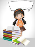 Speech bubble template with girl and books Royalty Free Stock Photos