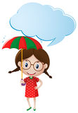 Speech bubble template with girl holding umbrella Stock Photography