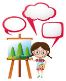 Speech bubble template with girl painting on canvas Stock Photo