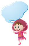 Speech bubble template with girl in pink raincoat. Illustration Stock Images