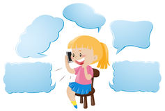 Speech bubble template with girl talking on phone Royalty Free Stock Photo