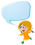 Speech bubble template with girl in yellow raincoat. Illustration Stock Photography