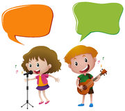 Speech bubble template with kids singing and playing guitar Royalty Free Stock Image