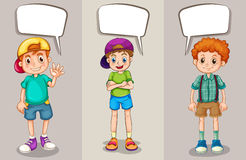 Speech bubble template with three boys Stock Image