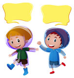 Speech bubble templates with boys in raincoat. Illustration Royalty Free Stock Photography