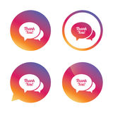Speech bubble thank you icon. Customer service. Royalty Free Stock Photography