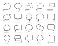 Speech Bubble simple black line icons vector set. Speech bubble thin line icons set. Outline web sign of comic tell. Communication Chat linear icons of speak stock illustration