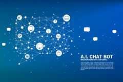 Artificial intelligence Chat bot service with dot connected line style background royalty free illustration
