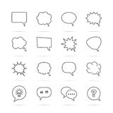 Speech bubble vector line icons Stock Photography