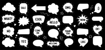 Speech bubble vector set doodle sketch style stock illustration