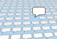 Speech bubble voice talks over social media blue Stock Photo