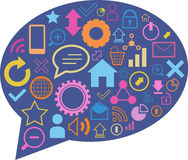 Speech bubble with web elements. Blue speech bubble with colorful web elements Stock Photography