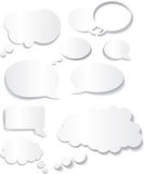 Speech bubble white flat designs in different styles Royalty Free Stock Photography