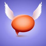 Speech bubble with wing. Symbol of love and Royalty Free Stock Photos