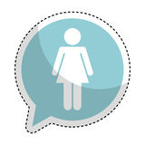 Speech bubble with woman avatar figure silhouette icon. Vector illustration design Royalty Free Stock Images