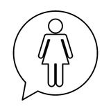 Speech bubble with woman avatar figure silhouette icon. Vector illustration design Royalty Free Stock Photos