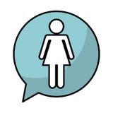 Speech bubble with woman avatar figure silhouette icon. Vector illustration design Stock Photos