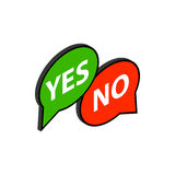 Speech bubble yes no icon, isometric 3d style Stock Photos
