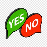 Speech bubble yes no isometric icon. 3d on a transparent background vector illustration Royalty Free Stock Images
