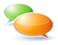 Speech bubbles. Orange and green for debate Stock Image