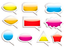 Speech bubbles. Brightly colored gel filled speech bubbles with drop shadow Royalty Free Stock Images