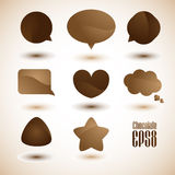 Speech bubbles. Simple coffee & chocolate communication bubbles, vector. (EPS10 file included Stock Photo