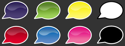 Speech bubbles. Set of glossy and colorful speech bubbles Stock Image