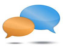 Speech bubbles. Orange and blue color isolated over a white background Royalty Free Stock Images