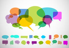 Speech bubbles. Differents forms of speech bubbles with fresh colors stock illustration