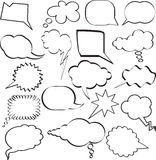 Speech bubbles. Large collection of sketch styled speech bubbles Stock Image