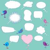 Speech bubbles. A collection of speech bubbles and cute birds royalty free illustration