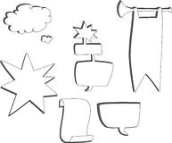 Speech Bubbles. Set of hand drawn comment and thought bubbles, banners, and shapes with copy space stock illustration