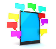 Speech bubbles. Digital tablet pc and speech bubbles. 3D render Royalty Free Stock Images