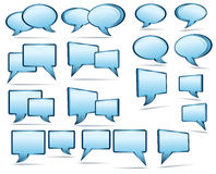 Speech bubbles. Silver blue, glass 3D and 2D speech bubbles Royalty Free Stock Photography