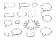 Speech bubbles. Black speech bubbles isolated on white background Stock Photography