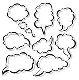 Speech bubbles. The set of a black contour speech bubbles and shadow Royalty Free Stock Image