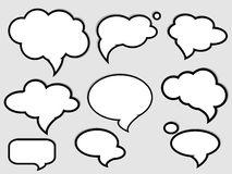 Speech bubbles. Set with black contour vector illustration