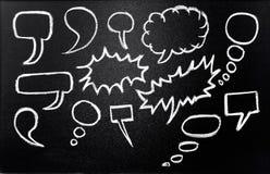 Speech bubbles. Drawn in chalk on blackboard Stock Photo