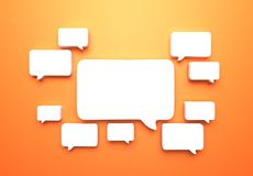 Speech bubbles. 3d speech bubbles on the orange wall Royalty Free Stock Photography