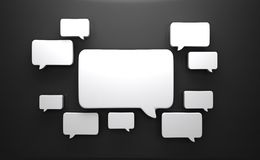 Speech bubbles. 3d speech bubbles on the black wall Royalty Free Stock Image