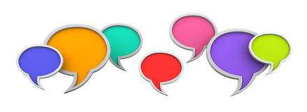 Speech bubbles. Three dimensional colorful speech bubbles on white background Stock Photography